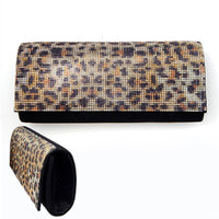 BLACK CLUTCH WITH ANIMAL PRINT STONES ( 6135 )