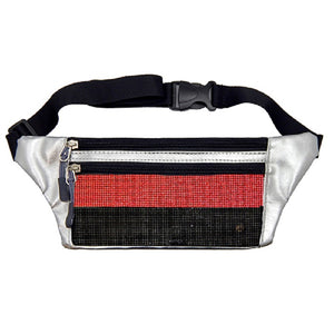 Metallic Silver Fanny Pack with Red and Black Crystal ( 6047 )