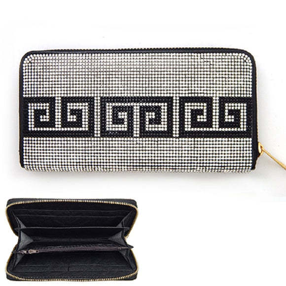Clear and Black Greek Patterned Rhinestone Single Zipper Wallet ( 6050 )