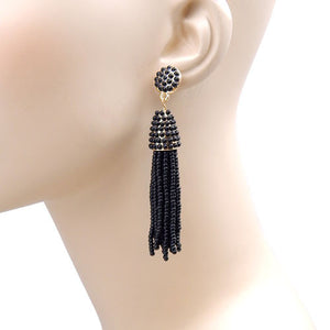 Black Beaded Tassel Earrings with Gold Accents