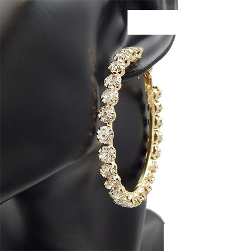 50MM Gold Hoop Earrings With Clear Stones ( 3043 )