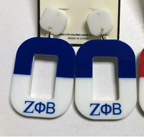 ZETA PHI BETA BLUE WHITE EARRINGS ( 3088 )