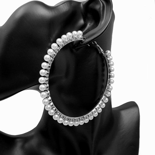 SILVER HOOP EARRINGS WITH WHITE PEARLS 70MM ( 3125 )