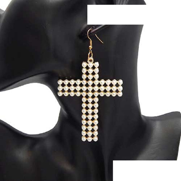 GOLD CROSS EARRINGS WITH CREAM PEARLS ( 3141 )