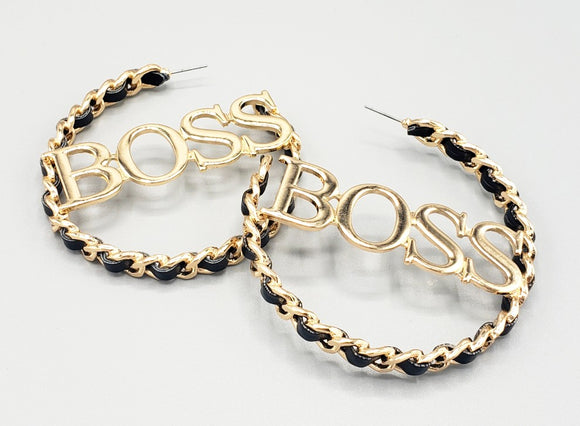 GOLD BLACK LEATHER METAL BOSS HOOP EARRINGS ( 6477 )