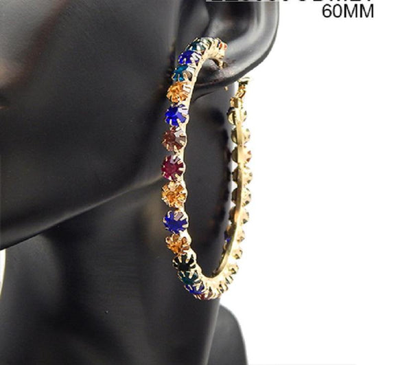 60mm Gold Multi Color Rhinestone Hoop Earrings ( 3039 GDMLT )
