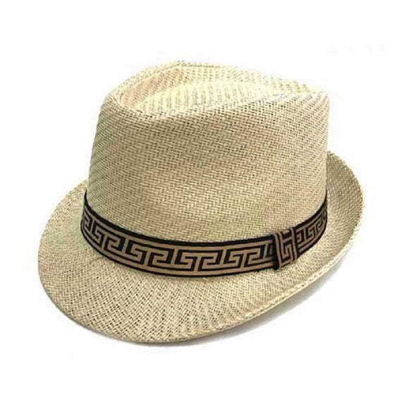 Beige Straw Fedora Hat with Greek Pattern ( 3396 BEGRK )