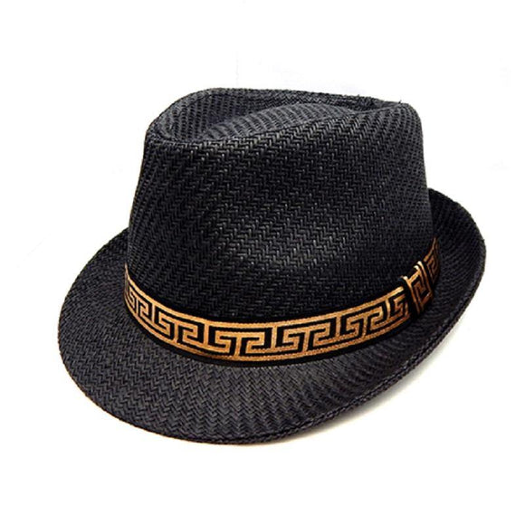 Black Straw Fedora Hat with Greek Pattern ( 3396 BKGRK )