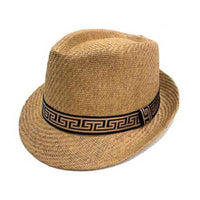 Khaki Color Straw Fedora Hat with Greek Pattern ( 3396 )