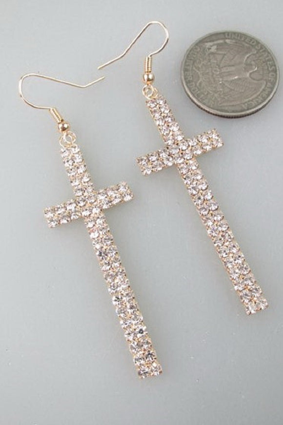 GOLD CROSS EARRINGS WITH CLEAR STONES ( 14703 )