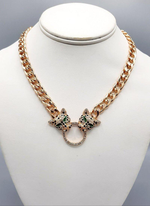 GOLD GREEN NECKLACE LEOPARD HEAD CLEAR STONES ( 0003 GD ) - Ohmyjewelry.com