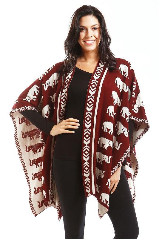 Reversible Burgundy Red and White Elephant Print Shawl ( 756 )