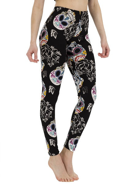 Black, White, and Multi Color Sugar Skull Leggings ( 058 )