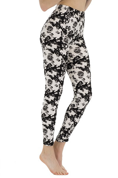Black and White Sugar Skull Leggings ( 060 )