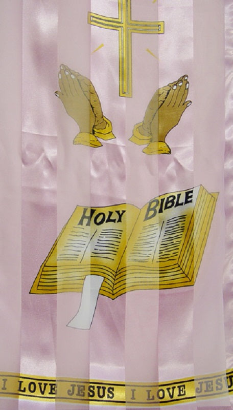Light Pink Satin Scarf with Bible Theme ( 7003 )