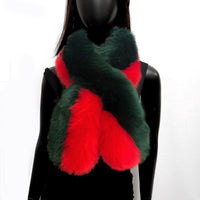 RED AND GREEN FAUX FUR SCARF ( 5118 )