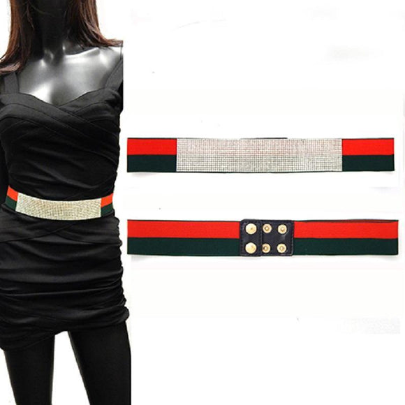 RED GREEN STRETCH BELT CLEAR STONES ( 5065 RDGMT ) - Ohmyjewelry.com