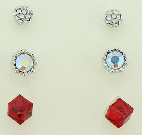Set of 3 Stud Earrings: Red, AB, Clear ( 39760 )