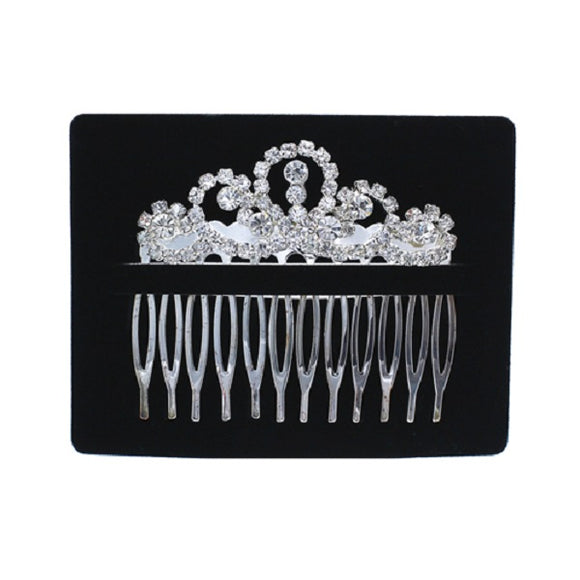 Clear Rhinestone Hair Comb with Silver Accents