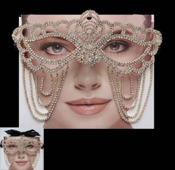 Gold Accent Clear and AB Rhinestone Draping Mask ( 2209 )