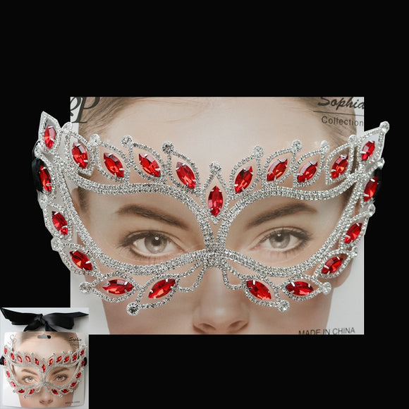 Silver Red Marquise and Clear Rhinestone Mask ( 2212 )