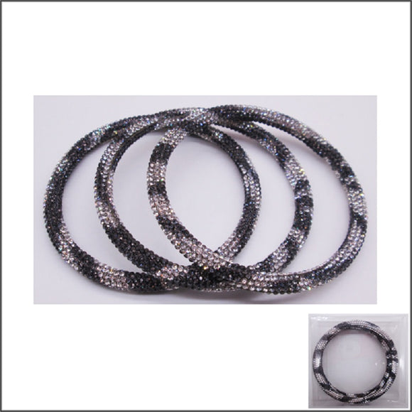 BLACK LEOPARD PRINT STONE PAVE BANGLE SET ( 35 )