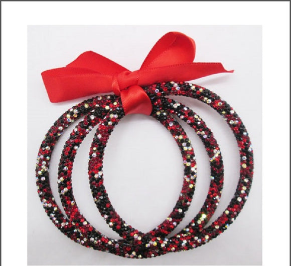 RED MULTI COLOR STONE PAVE 3 PIECE BANGLE SET ( 41 )