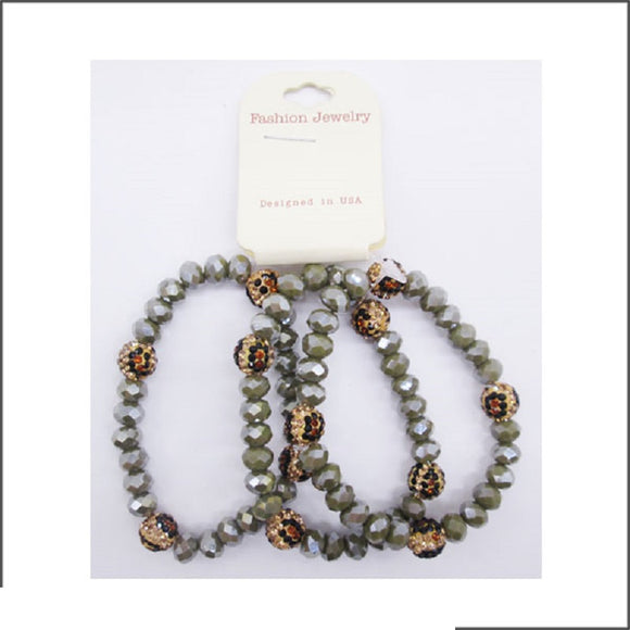 3 GREY COLOR LEOPARD PRINT STRETCH BRACELETS SHAMBALLA BALL FACETED ( 102 05 )