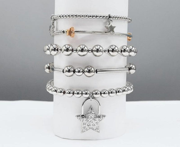 SILVER GOLD STRETCH BRACELETS STAR CLEAR STONES ( 1223 RH )