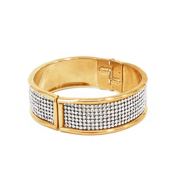 GOLD BANGLE CLEAR STONES HINGE ( 7030 )