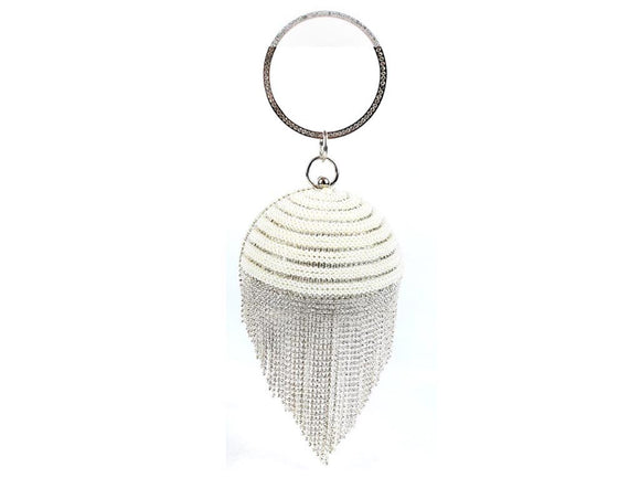 SILVER BALL PURSE WITH WHITE PEARLS AND CLEAR STONES ( 8246 )