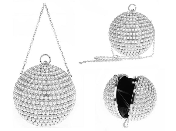 SILVER BALL PURSE WHITE PEARLS CLEAR STONES ( 8253 )