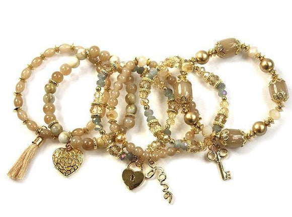 Layered Hazel Brown Glass Beaded Stretch Bracelet with Heart Charms ( 1118 GDHAZ )