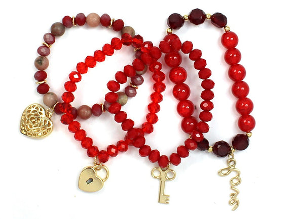 4 Layer Red Glass Beaded Stretch Bracelets with Gold Love Theme Charms ( 5156 )