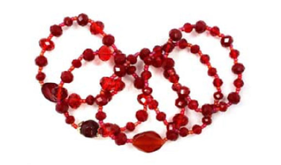 5 WINE COLOR RED GLASS BEADED STRETCH BRACELETS ( 5220 )