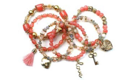 Coral Glass Beaded Stretch Bracelet with Heart Charms and Gold Beads ( 1118 )
