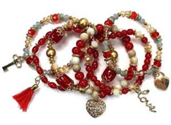 Layered Red Glass Beaded Stretch Bracelet with Heart Charms ( 1118 GDRE )