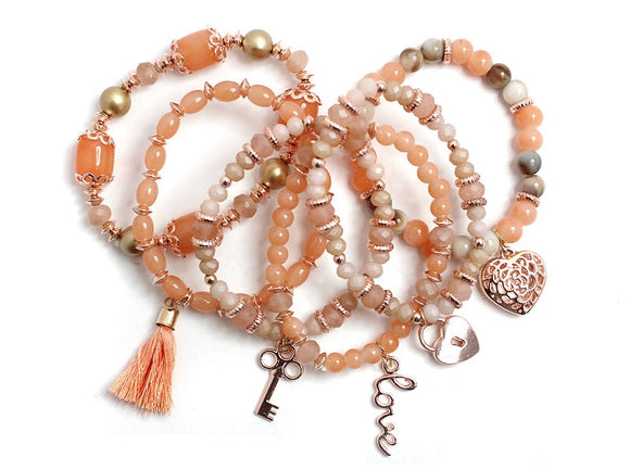 Rose Gold Layered Peach Glass Beaded Stretch Bracelet with Heart Charms and Gold Beads ( 1118 )
