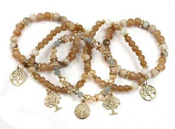 5 Layer Hazel and Cream Beaded Wishing Tree Charm Stretch Bracelets ( 5035 )
