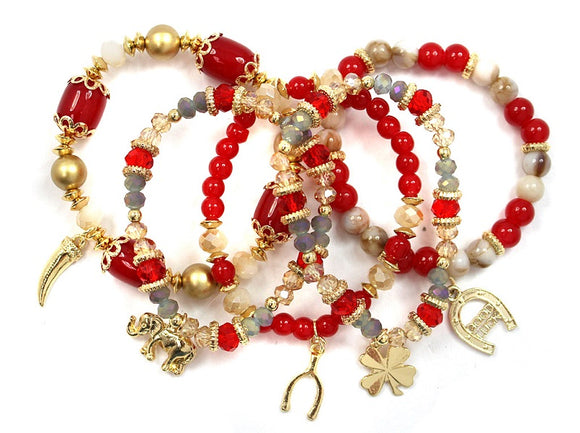 5 Layer Gold and Red Beaded Elephant Theme Charm Stretch Bracelets ( 5153 )