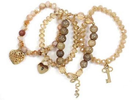 Layered Neutral Color Glass Beaded Stretch Bracelets with Gold Love Theme Charms ( 5156 )