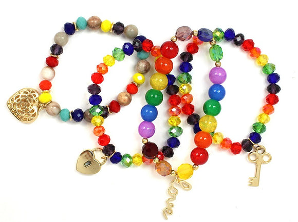 4 Layer Multi Color Glass Beaded Stretch Bracelets with Gold Love Theme Charms ( 5156 )