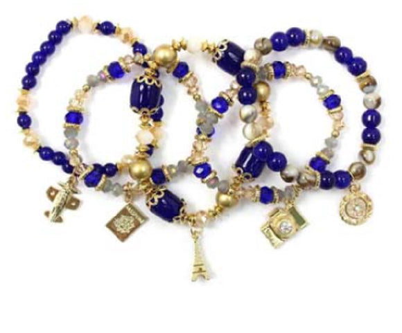 Layered Blue & Gold Beaded Stretch Bracelet with Gold Travel Theme Charms ( 5157 )