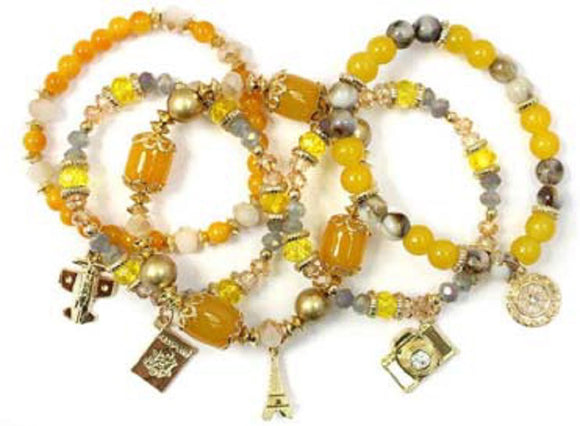 Layered Mustard Yellow & Gold Beaded Stretch Bracelet with Gold Travel Theme Charms ( 5157 )