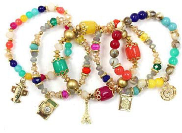 Layered Multi Color & Gold Beaded Stretch Bracelet with Gold Travel Theme Charms ( 5157 )