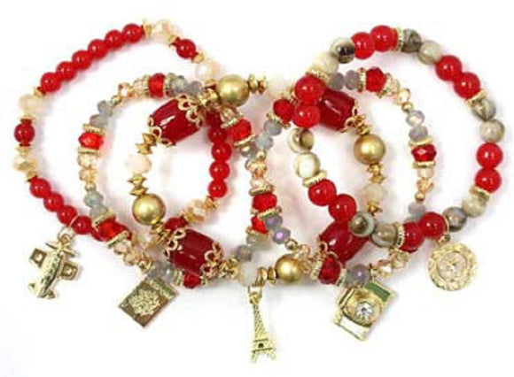 Layered Red & Gold Beaded Stretch Bracelet with Gold Travel Theme Charms ( 5157 )