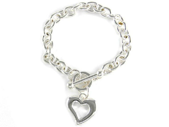 Silver Toggle Bracelet with Open Heart Charm ( 1390 )