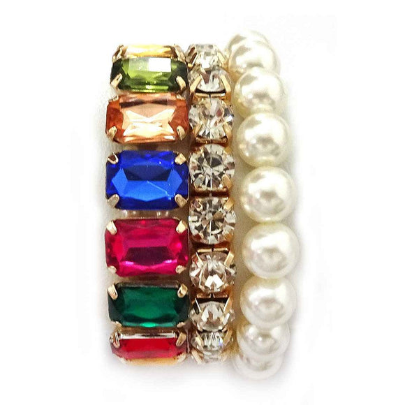 3 Piece Multi Color Stone and Gold Accent and Cream Pearl Stretch Bracelets ( 4718 )