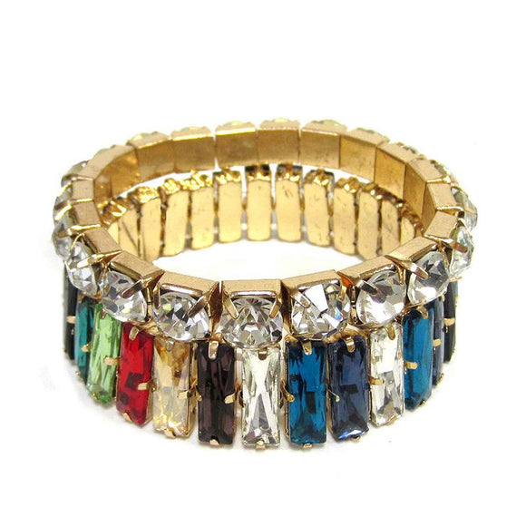 2 Piece Multi Color Baguette and Clear Stone and Gold Accent Stretch Bracelets ( 4766 )