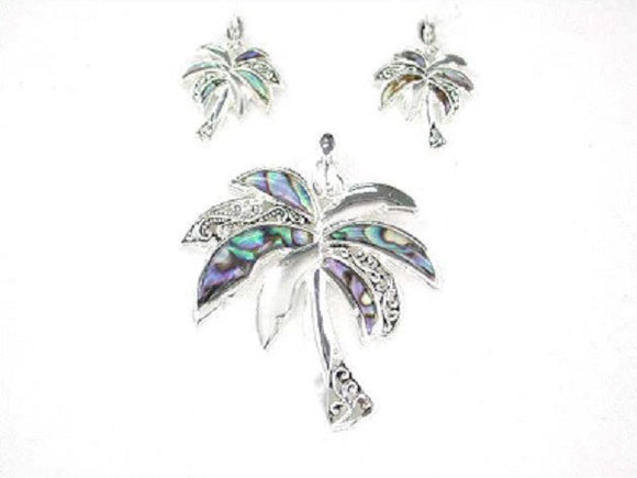 Abalone Palm Tree Pendant and Earrings Set ( 1453 )